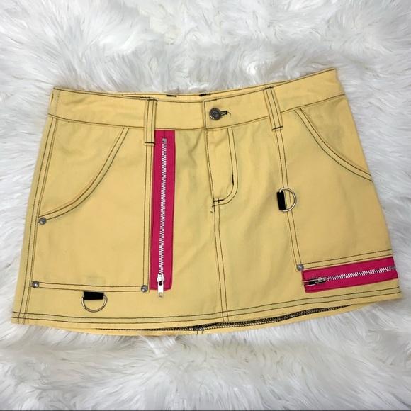Dogpile Dresses & Skirts - SALE Dogpile Yellow Pink Mini Punk Bondage Skirt M